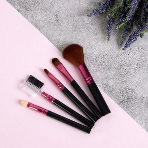 Набор кистей для макияжа, 5 предметов, цвет чёрный/малиновый Queen fair