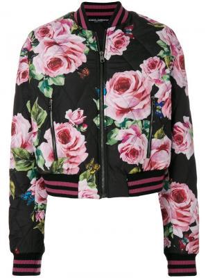 Стеганая куртка-бомбер с принтом роз Dolce & Gabbana. Цвет: черный
