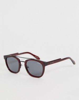 Круглые солнцезащитные очки в красной оправе coolin-Красный Quay Australia