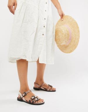 Бархатные сандалии с пряжками в стиле вестерн Sofie Schnoor. Цвет: розовый
