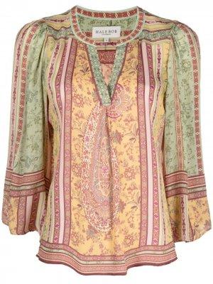 Блузка с V-образным вырезом и принтом пейсли Hale Bob. Цвет: желтый
