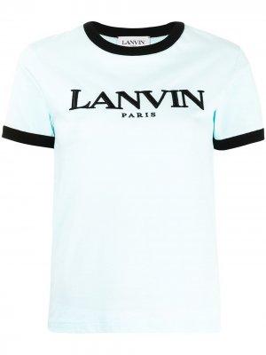 Футболка с вышитым логотипом и контрастной окантовкой LANVIN. Цвет: синий