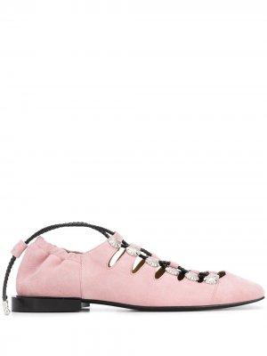 Балетки с заклепками и шнуровкой Toga Pulla. Цвет: розовый