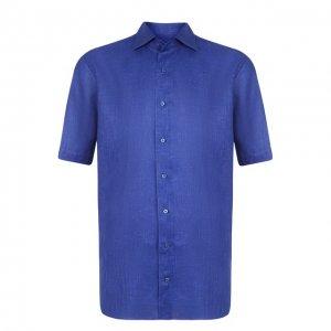 Хлопковая сорочка с короткими рукавами Zilli. Цвет: синий