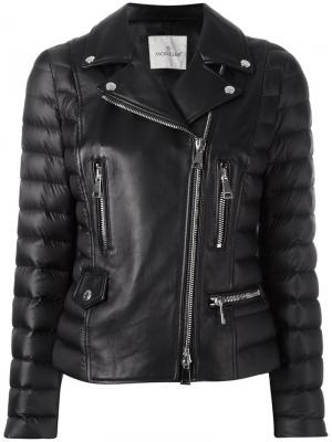 Кожаная куртка Moncler. Цвет: чёрный