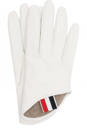Кожаные перчатки Thom Browne. Цвет: белый
