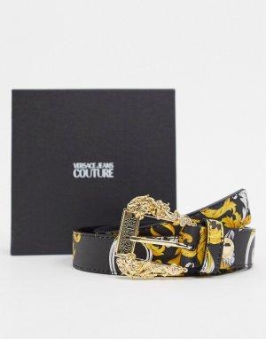 Кожаный ремень с принтом -Мульти Versace Jeans Couture