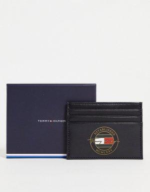 Черный кожаный кошелек для пластиковых карт с логотипом подписью -Черный цвет Tommy Hilfiger