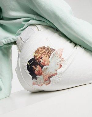 Прямые джинсы кремового цвета с принтом ангелов -Белый Fiorucci