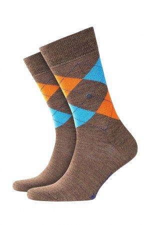 Светло-коричневые носки с яркими узорами Burlington. Цвет: бирюзовый