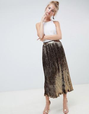 Плиссированная юбка миди с пайетками ASOS DESIGN