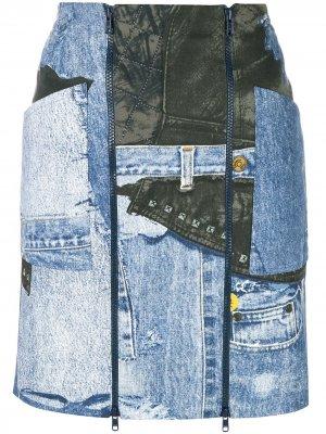 Джинсовая мини-юбка с принтом Christian Dior. Цвет: синий