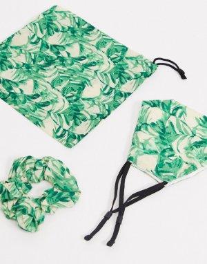 Маска для лица с пальмовым принтом и резинка волос -Мульти ASOS DESIGN