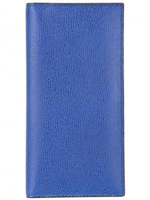 Вертикальная визитница Valextra. Цвет: синий