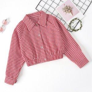 Куртка в клетку с рукавом-реглан для девочек SHEIN. Цвет: красный и белый