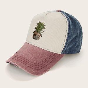 Бейсбольная кепка Ripped Hem для мужчин с ананасом SHEIN. Цвет: многоцветный