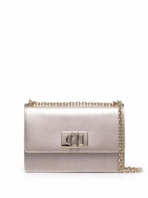 Мини-сумка через плечо с эффектом металлик Furla. Цвет: золотистый