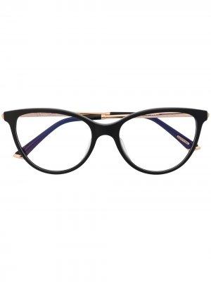 Очки в оправе кошачий глаз Chopard Eyewear. Цвет: черный