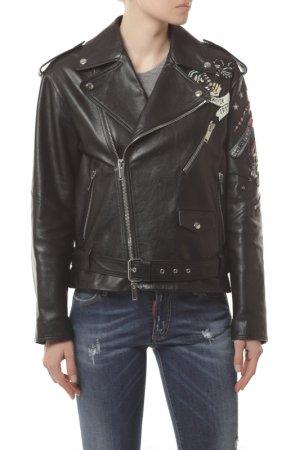 Куртка кожаная Valentino. Цвет: 0no