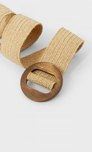 Эластичный пояс с деревянной пряжкой Stradivarius
