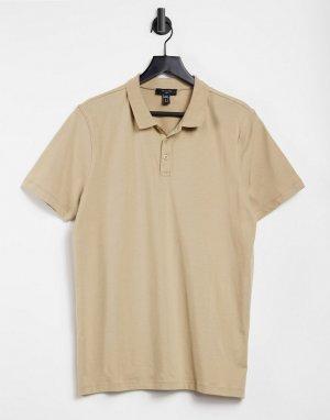 Светло-бежевая трикотажная рубашка-поло -Бежевый New Look