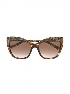 Солнцезащитные очки в оправе кошачий глаз Blumarine. Цвет: золотистый