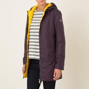 Куртка стеганая длинная двусторонняя OOF. Цвет: сливовый/желтый