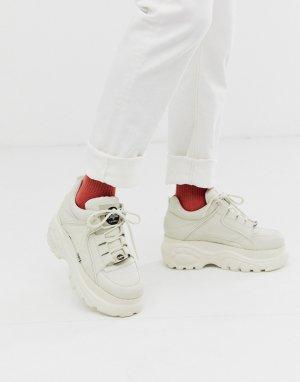 Кремовые кроссовки на массивной подошве с отделкой под змеиную кожу Classic-Белый Buffalo