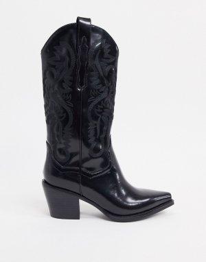 Черные кожаные ковбойские сапоги -Черный цвет Jeffrey Campbell