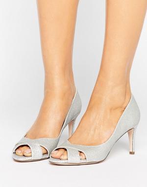 Туфли на среднем каблуке ASOS SAGE DESIGN. Цвет: серебряный
