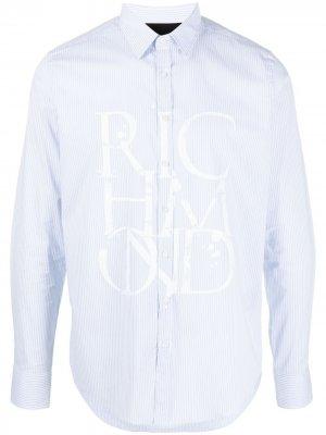 Полосатая рубашка с логотипом John Richmond. Цвет: синий