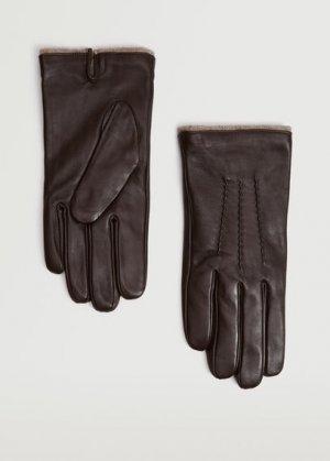 Полушерстяные перчатки с кожаными вставками - Zigzag Mango. Цвет: темно-коричневый