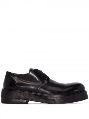 Массивные туфли дерби на плоской подошве Marsèll. Цвет: черный