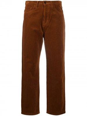 Бархатные брюки прямого кроя Carhartt WIP. Цвет: коричневый