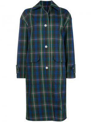 Легкое пальто с шотландскую клетку MSGM. Цвет: синий