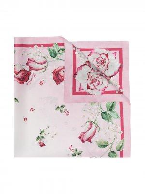 Платок с цветочным принтом Monnalisa. Цвет: розовый