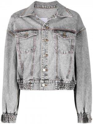 Джинсовая куртка с контрастной строчкой SJYP. Цвет: серый