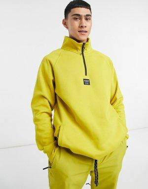 Желтый флисовый пуловер с короткой молнией Down Day Planks