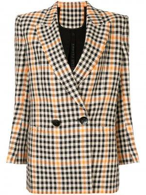 Двубортный клетчатый пиджак Petar Petrov. Цвет: разноцветный