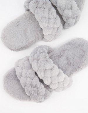 Серые тапочки из искусственного меха Cozi-Серый Public Desire