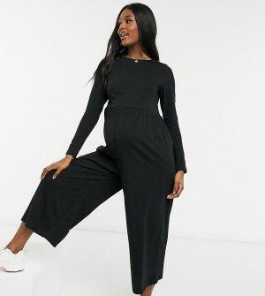 Свободный трикотажный комбинезон черного цвета с овальным вырезом ASOS DESIGN Maternity-Черный Maternity