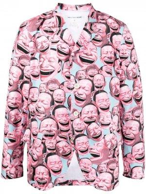 Пиджак с графичным принтом Comme Des Garçons Shirt. Цвет: розовый