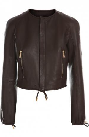 Кожаная куртка Dsquared2. Цвет: темно-коричневый