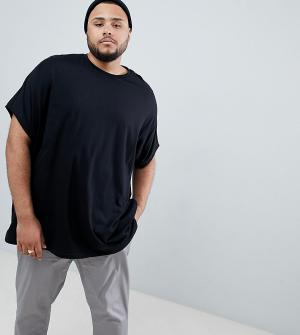 Свободная черная футболка без рукавов Plus ASOS DESIGN. Цвет: черный