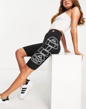 Черные шорты-леггинсы с большим логотипом сбоку -Черный цвет adidas Originals