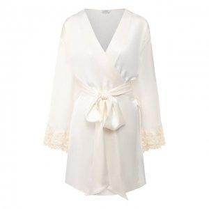 Шелковый халат La Perla. Цвет: белый