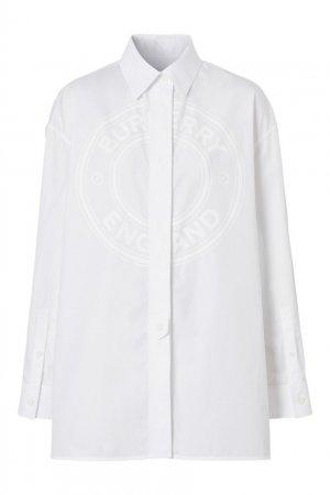 Белая рубашка оверсайз с логотипом Burberry. Цвет: белый