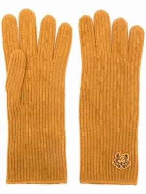 Перчатки с нашивкой Tiger Kenzo. Цвет: желтый