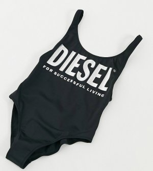 Черный слитный купальник с большим логотипом металлик Diesel