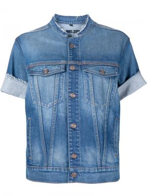 Джинсовая куртка с короткими рукавами 7 For All Mankind. Цвет: синий